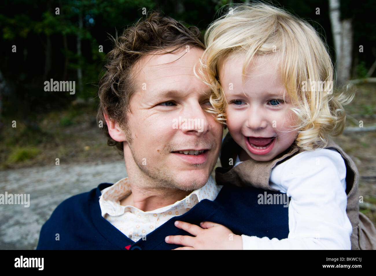 Father and daughter outside - Stock Image
