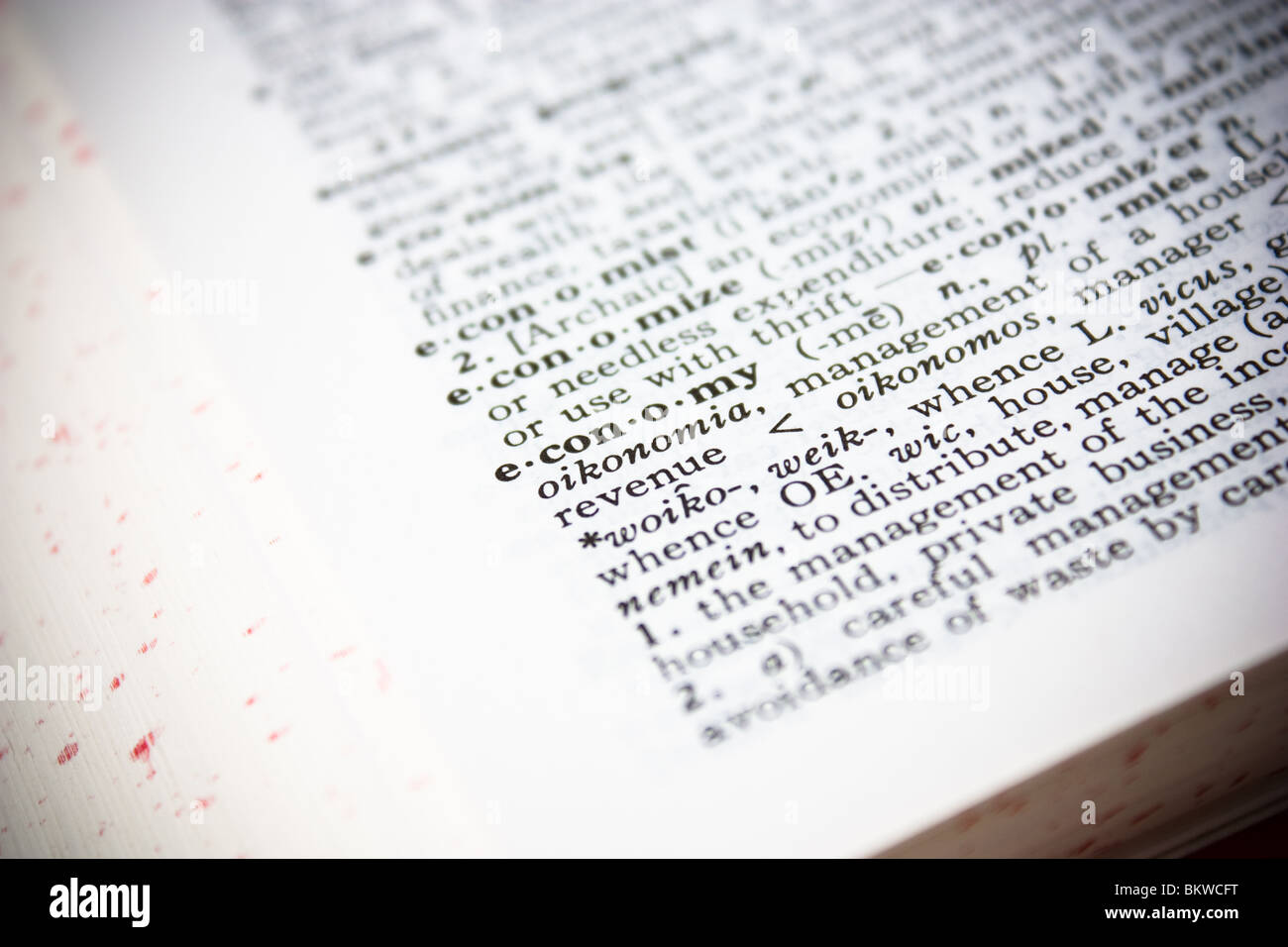 dictionary definition economy closeup book letter - Stock Image