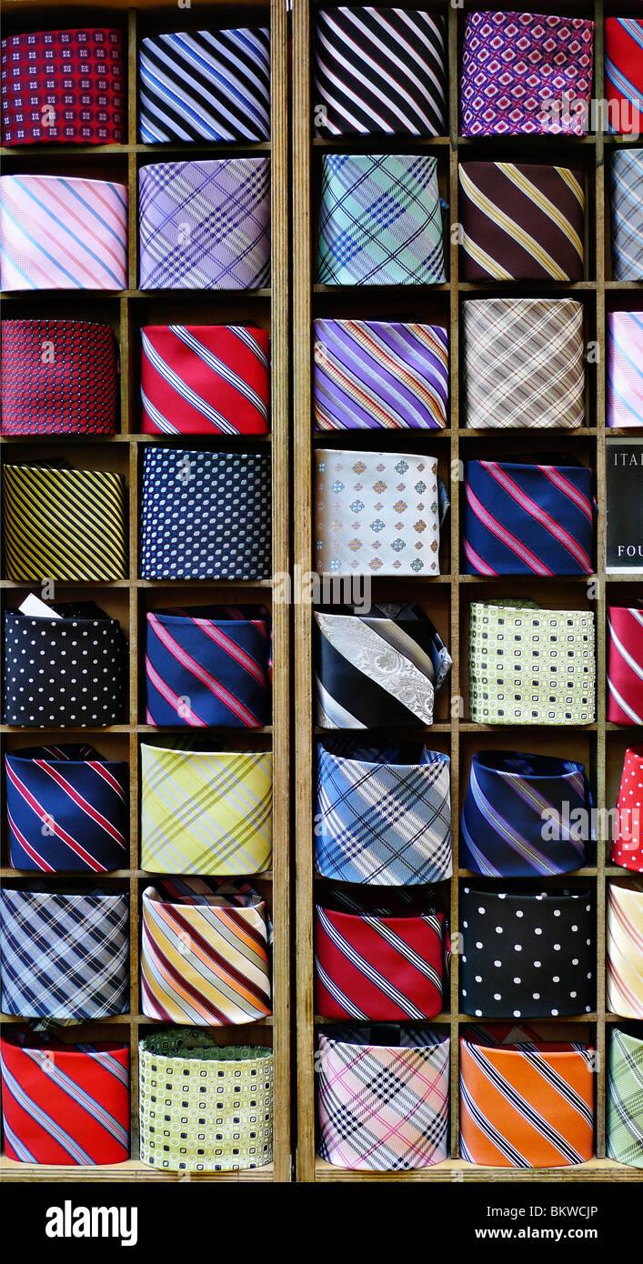 Selection of men's neck ties. - Stock Image