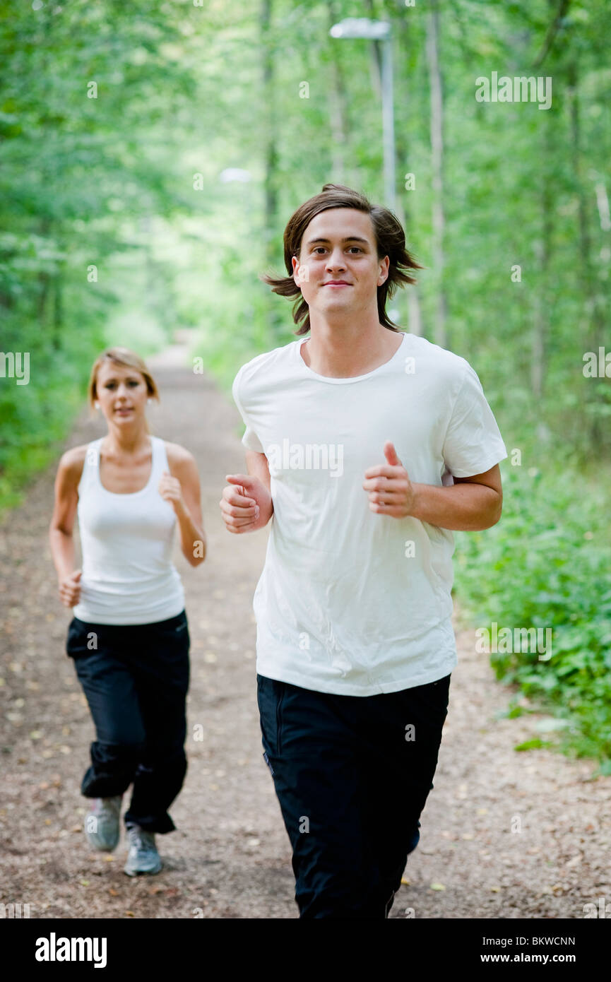 Guy runs - Stock Image