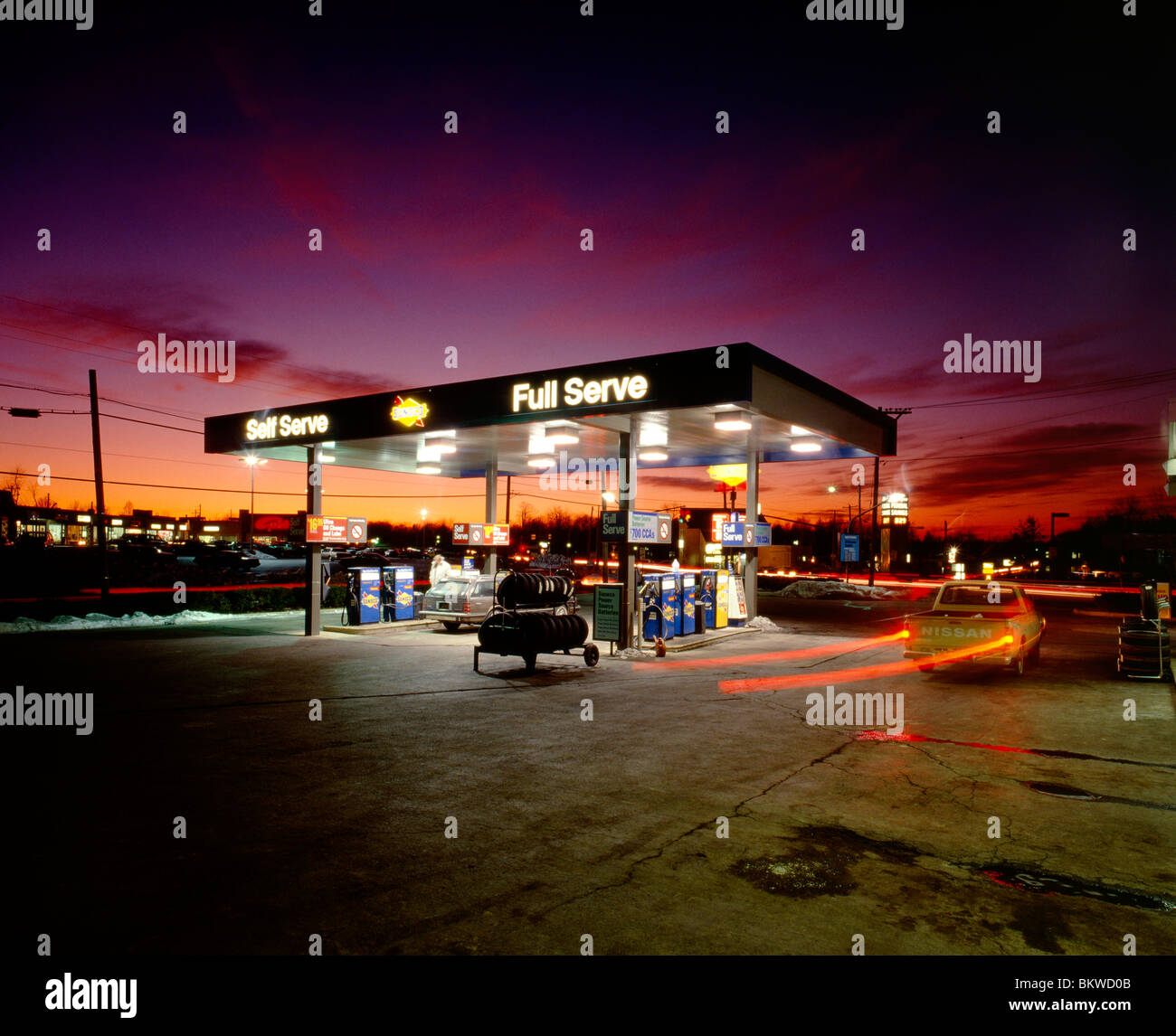 Dusk view of a gasoline station and convenience store; Maple Glen, Pennsylvania, USA Stock Photo