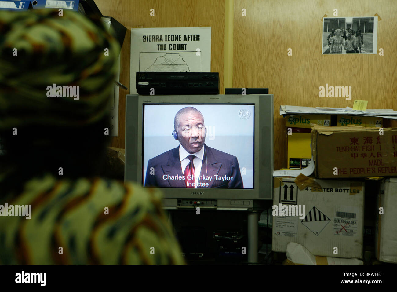 Charles Taylor, former president of Liberia, on trial for alleged war crimes in the Hague - Stock Image