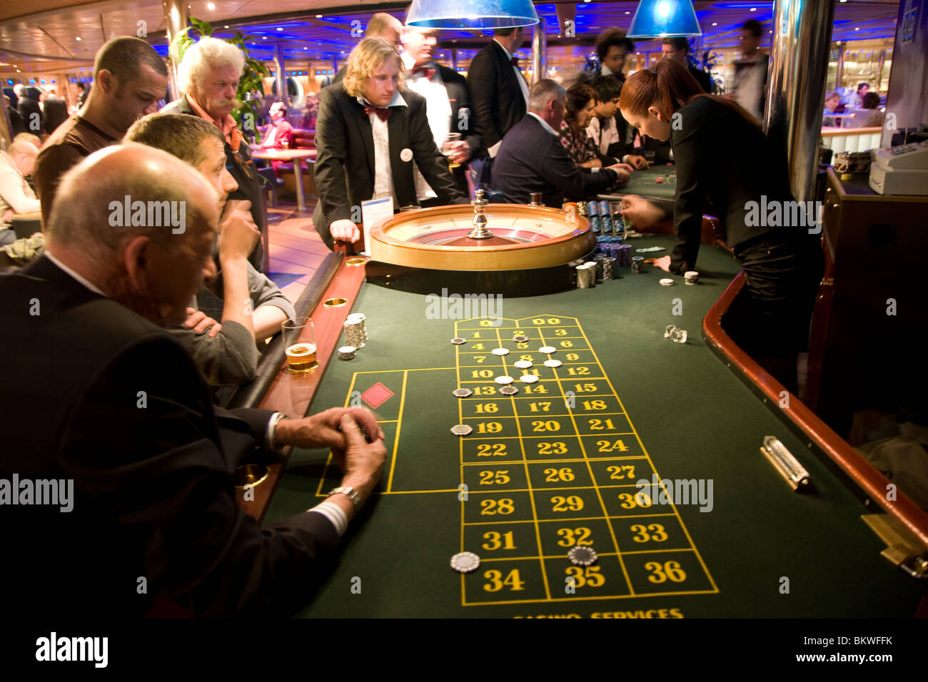 Roulette casino on Stena Line ferry Harwich to Holland - Stock Image