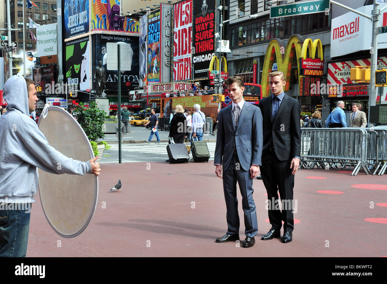 Man Models Time Square Manhattan New York NY USA - Stock Image