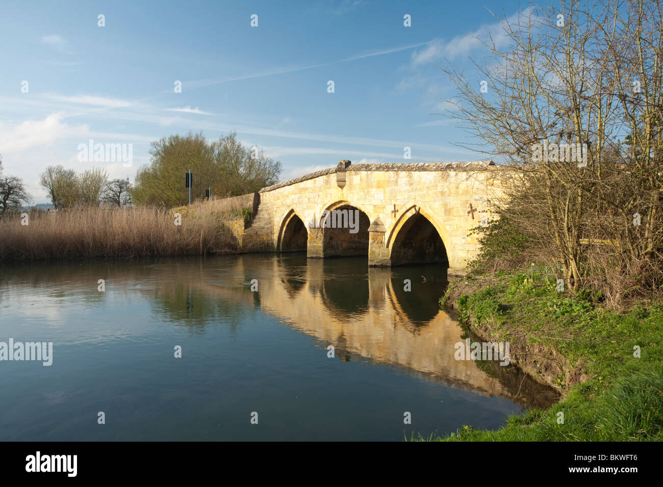 Radcot road bridge on the River Thames, Oxfordshire, Uk - Stock Image