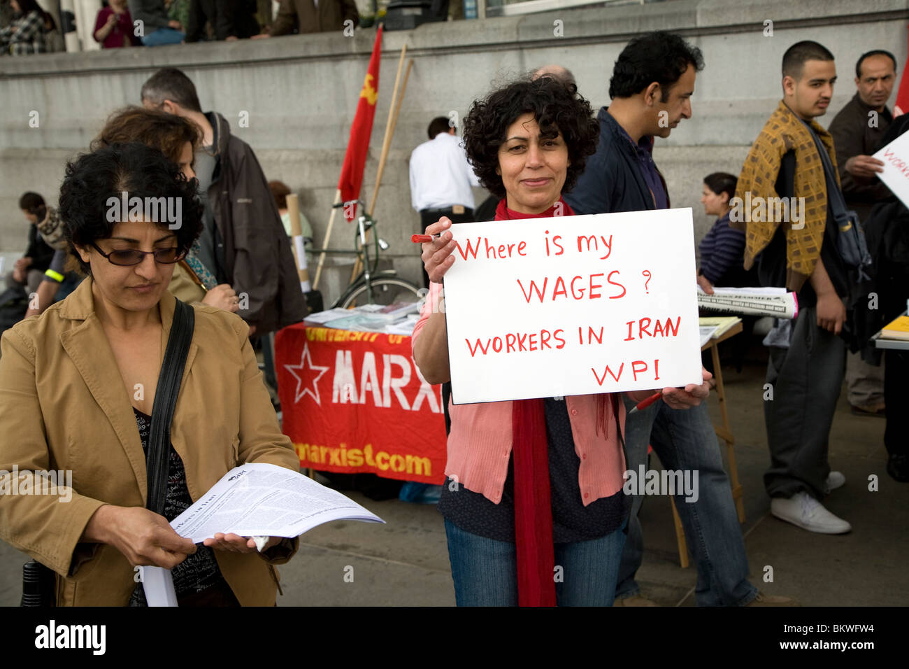 May Day march and rally at Trafalgar Square, May 1st, 2010 Woman protesting about wages in Iran - Stock Image