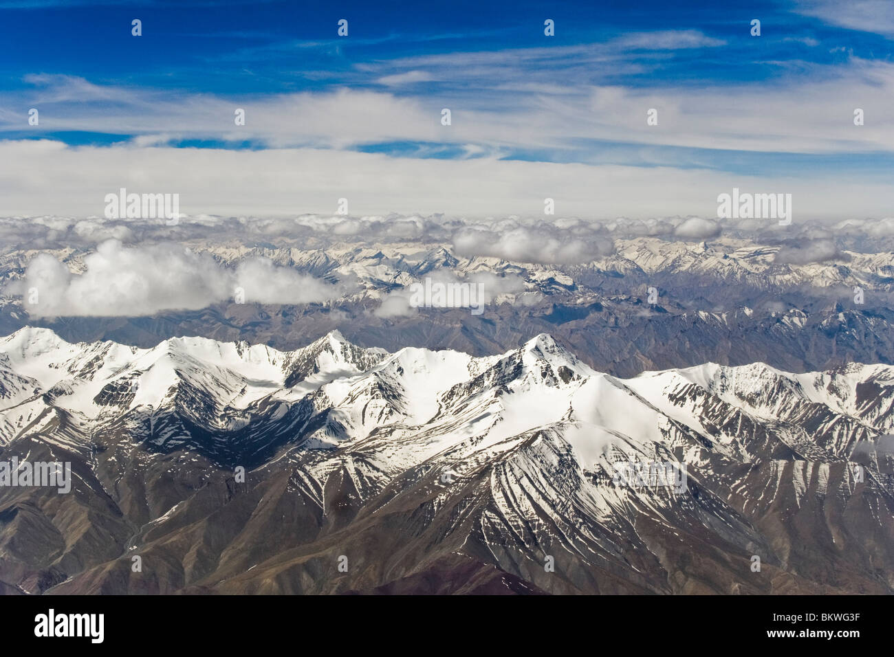 Aerial view of Stok Kangri - Stock Image