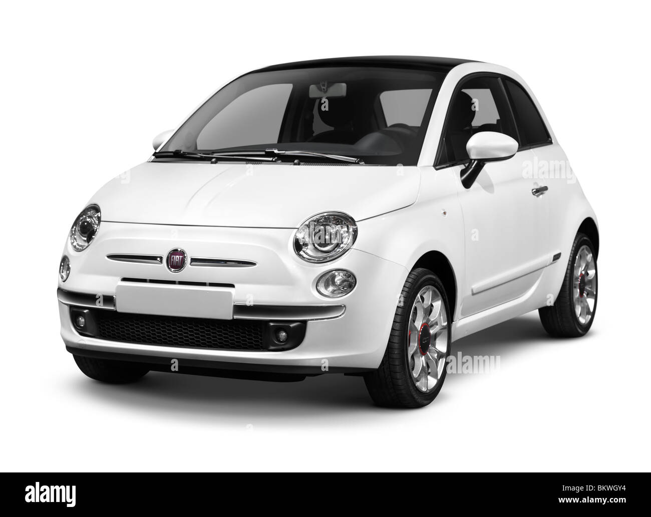 2010 Fiat Nuova 500 small city car isolated on white background with clipping path - Stock Image