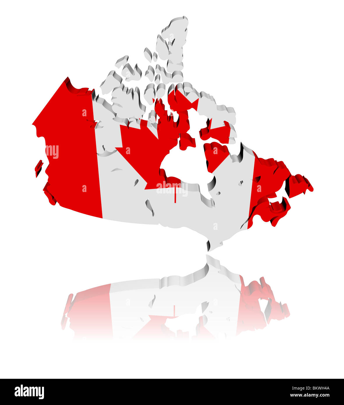 Map Of Canada 3d.Canada Map Flag 3d Render With Reflection Illustration Stock