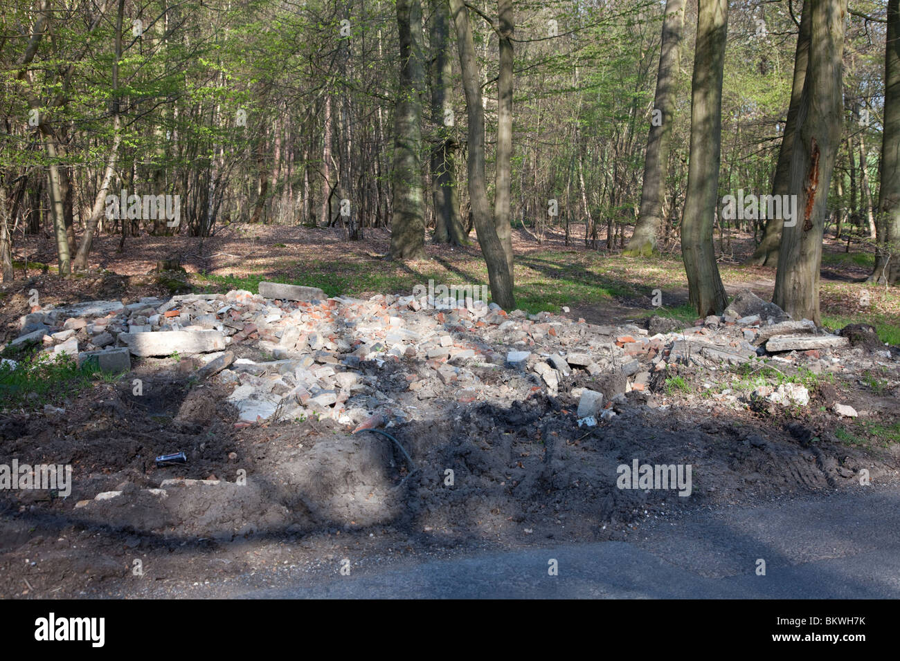 Fly-tipped builders rubble dumped illegally in woodland near Hyde Heath, Buckinghamshire - Stock Image