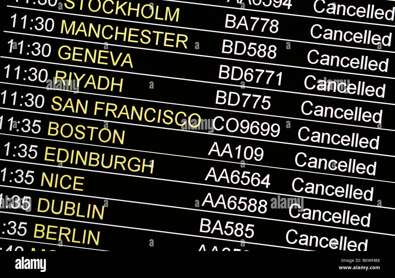 Flights Cancelled Due to Volcanic Ash - Stock Image