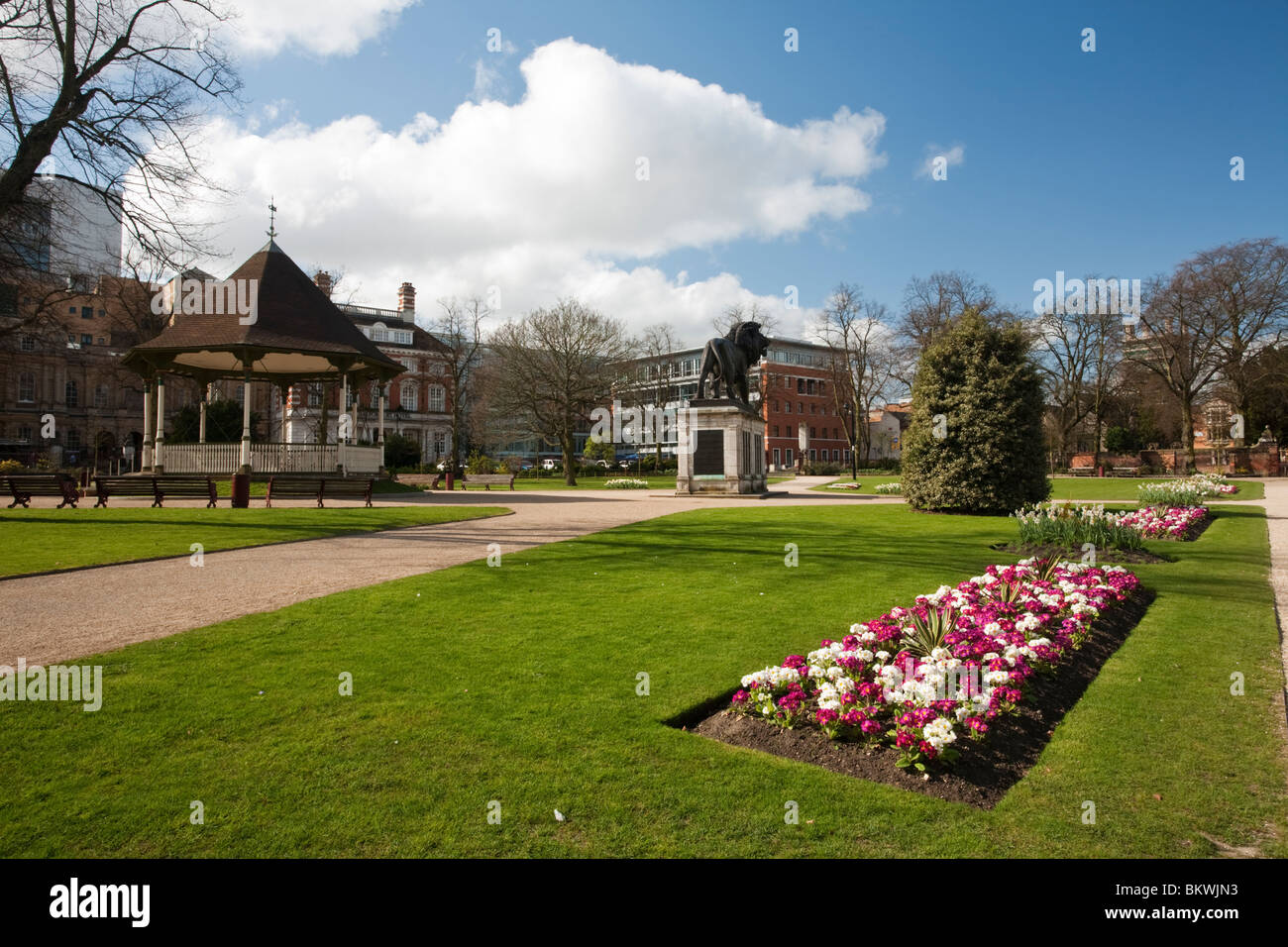 Spring in Forbury Gardens in Reading town centre, Berkshire, Uk Stock Photo