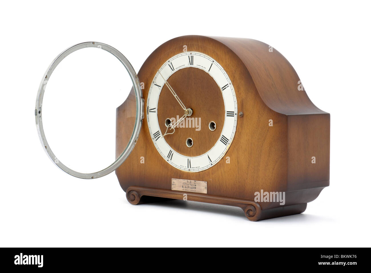Vintage 1950's Smiths Westminster Chime 8-day wooden mantel clock issued by British Rail Western Region - Stock Image