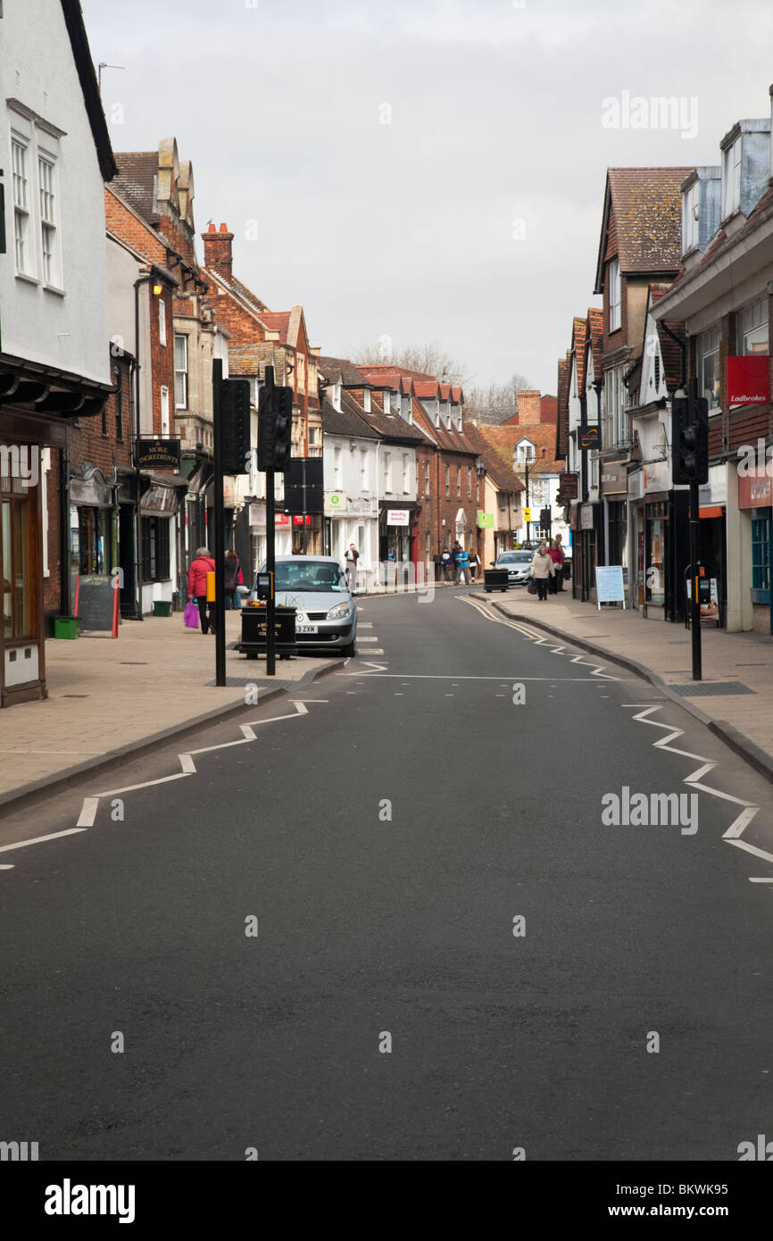 View along Stert Street in Abingdon town centre, Oxfordshire, Uk - Stock Image