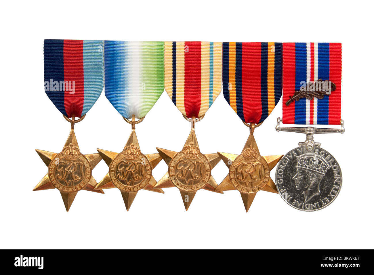 Set of World War II British Royal Navy military medals with Bronze Oak leaf, isolated on white background - Stock Image