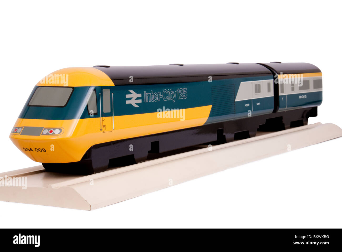 Vintage handmade display model of British Rail BR InterCity 125 high-speed passenger train, isolated against white - Stock Image