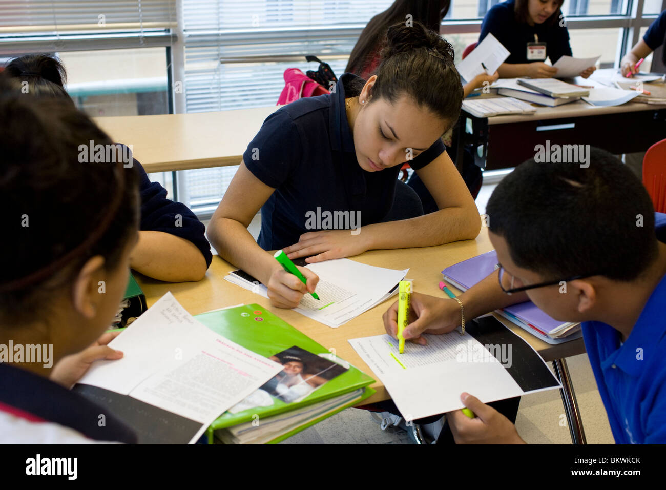 High School Students Study Together At Charter School Peak Stock