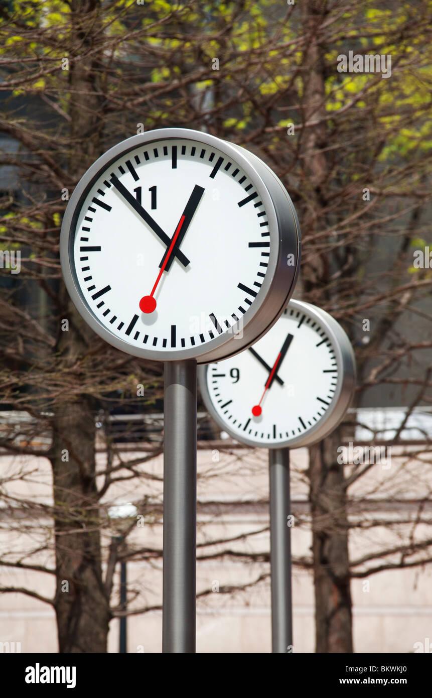 Six Public Clocks - Stock Image