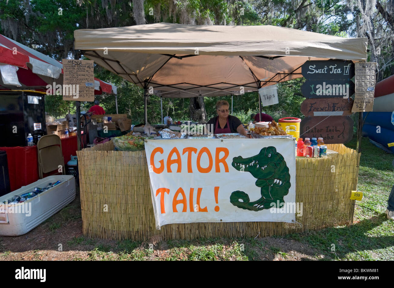 Kanapaha Spring Garden Festival Gainesville Florida gator tail nuggets for sale at food booth - Stock Image