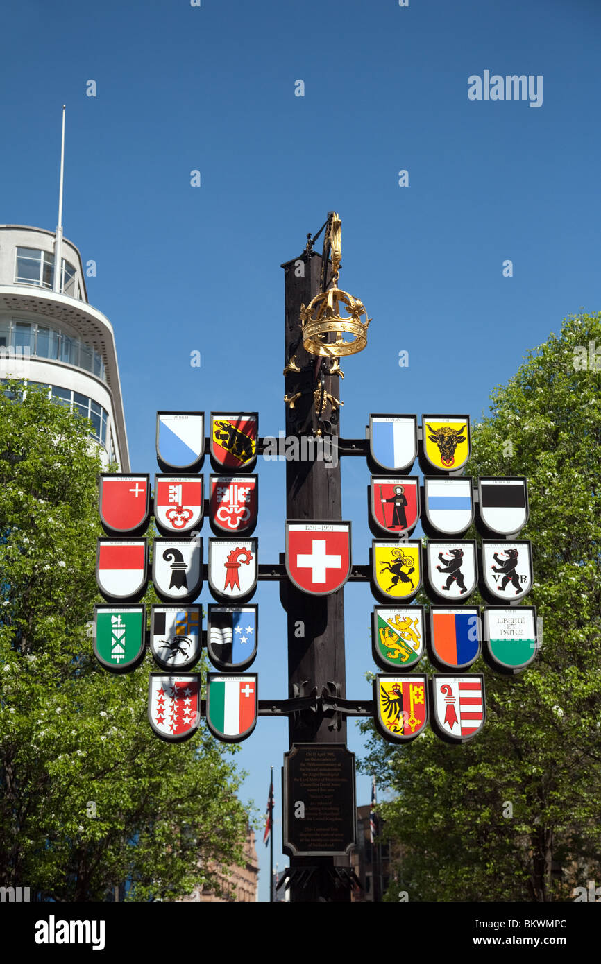 The coats of arms of the 26 cantons of Switzerland, Swiss court, Leicester Square, london UK - Stock Image