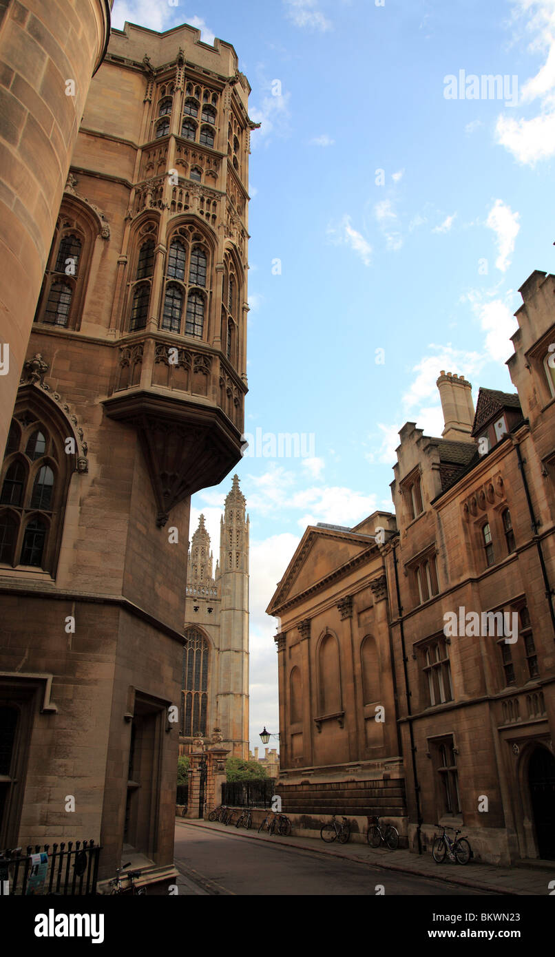 Kings Chapel and Clare College from Trinity Lane, Cambridge, England, UK - Stock Image