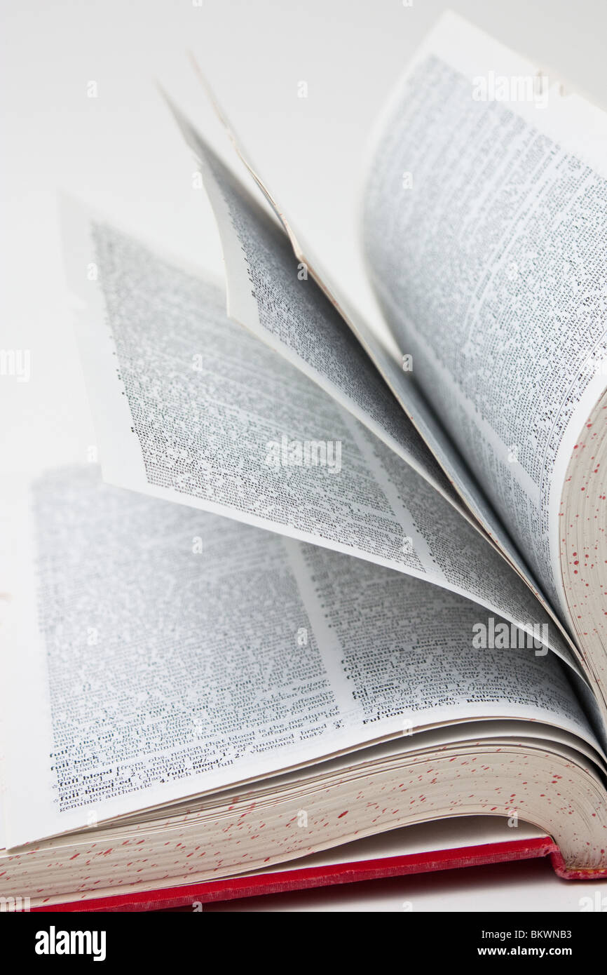 book flipping page reference search - Stock Image