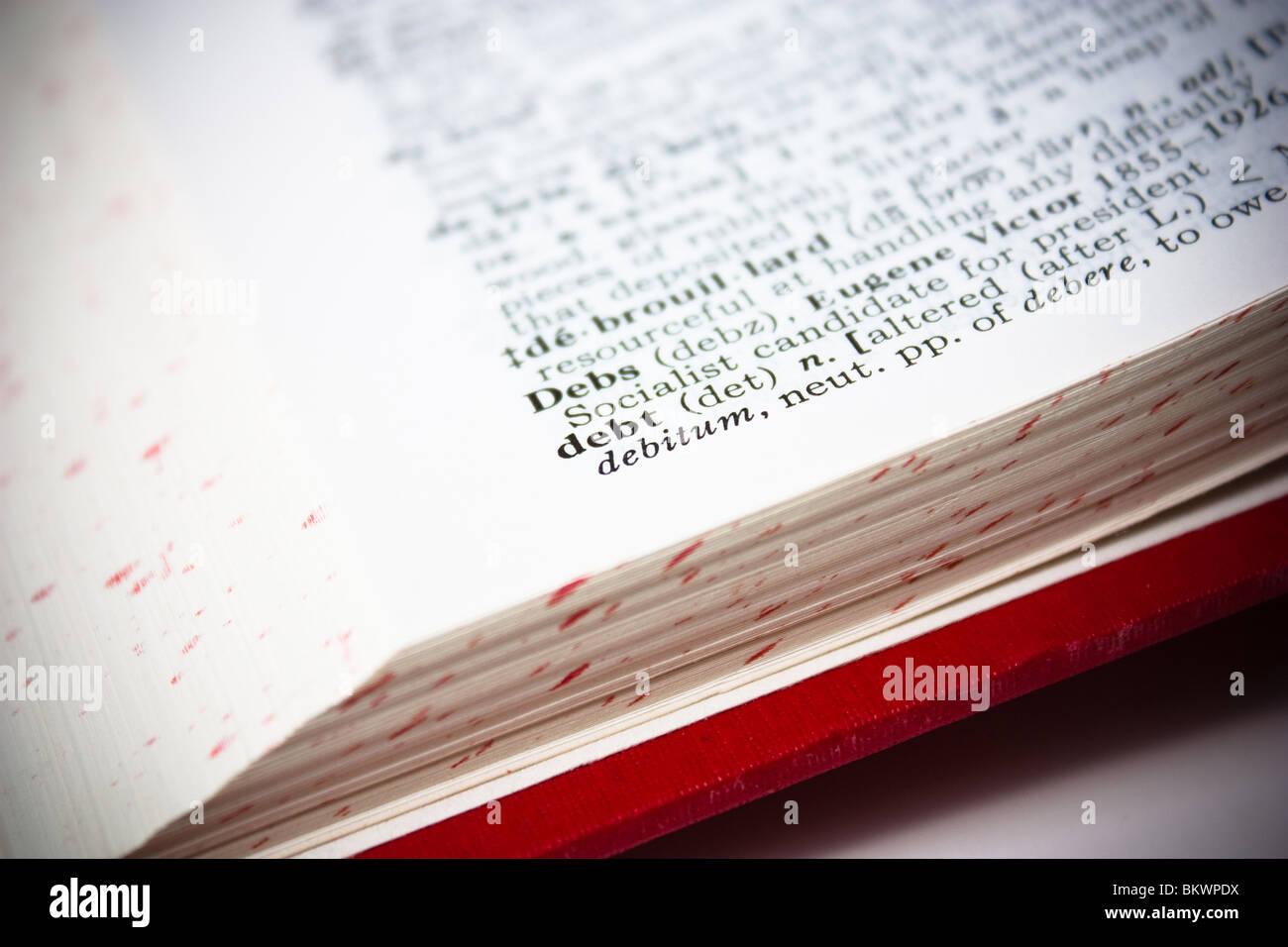 dictionary definition closeup debt word - Stock Image