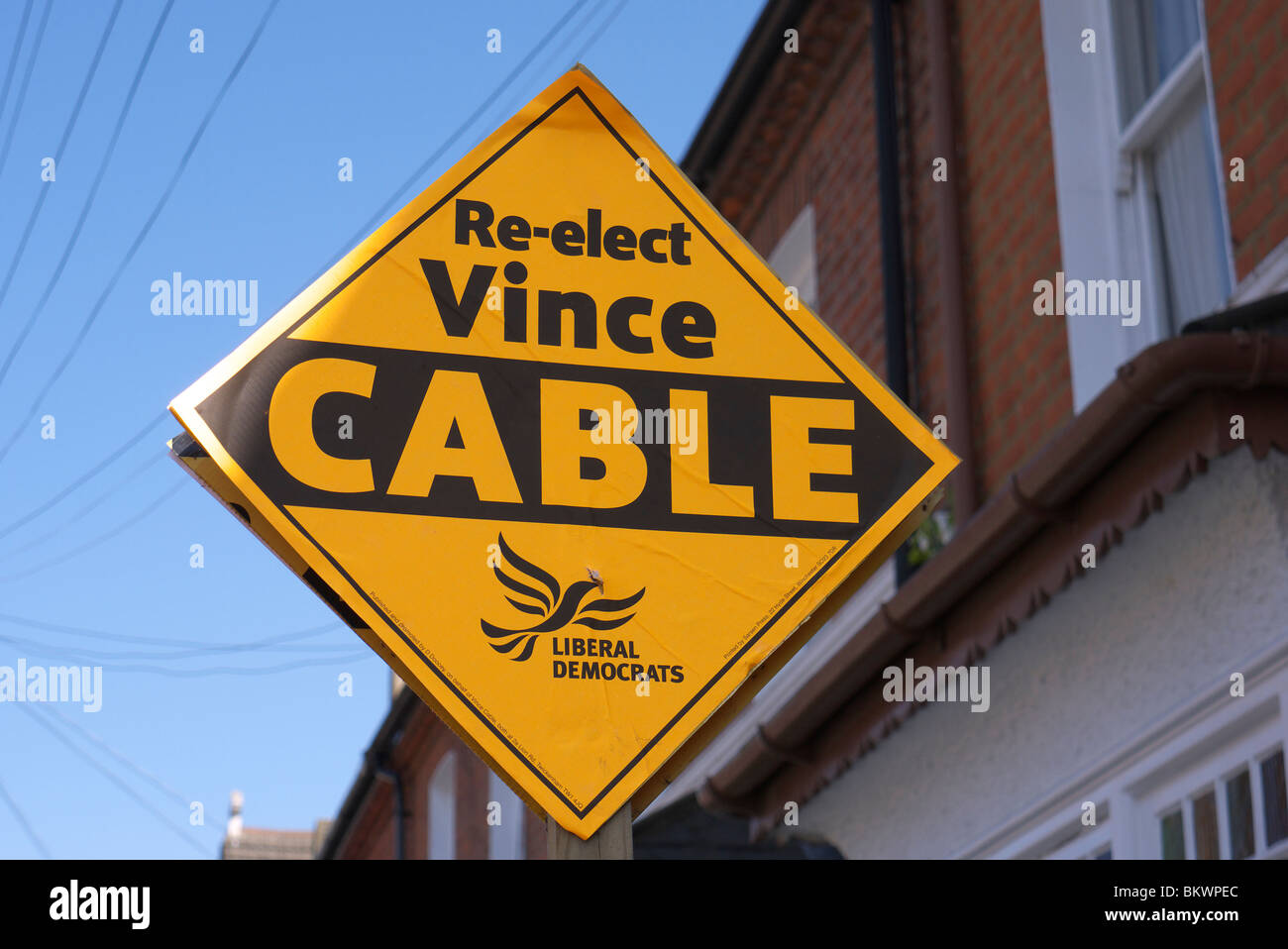A campaign sign to re-elect Vince Cable of the Liberal Party for the British election - he won. - Stock Image