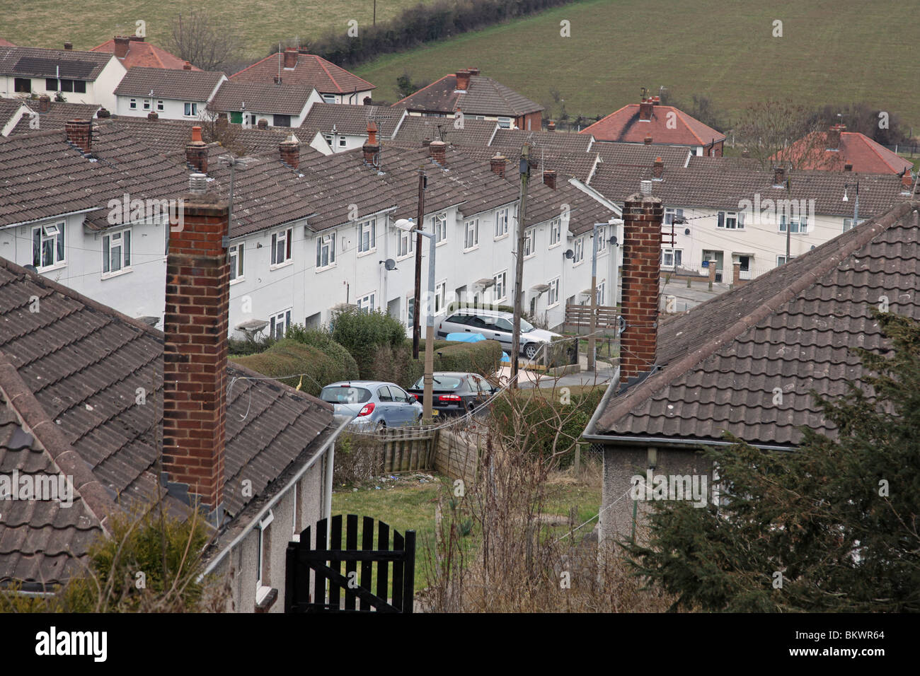 Council housing estate street in Holywell, Flintshire, North Wales - Stock Image