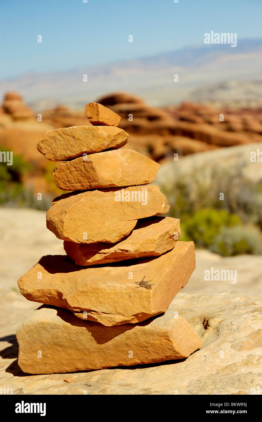 Stock photograph of a lizard sunning itself on a rock cairn marking Devil's Garden trail at Arches National - Stock Image