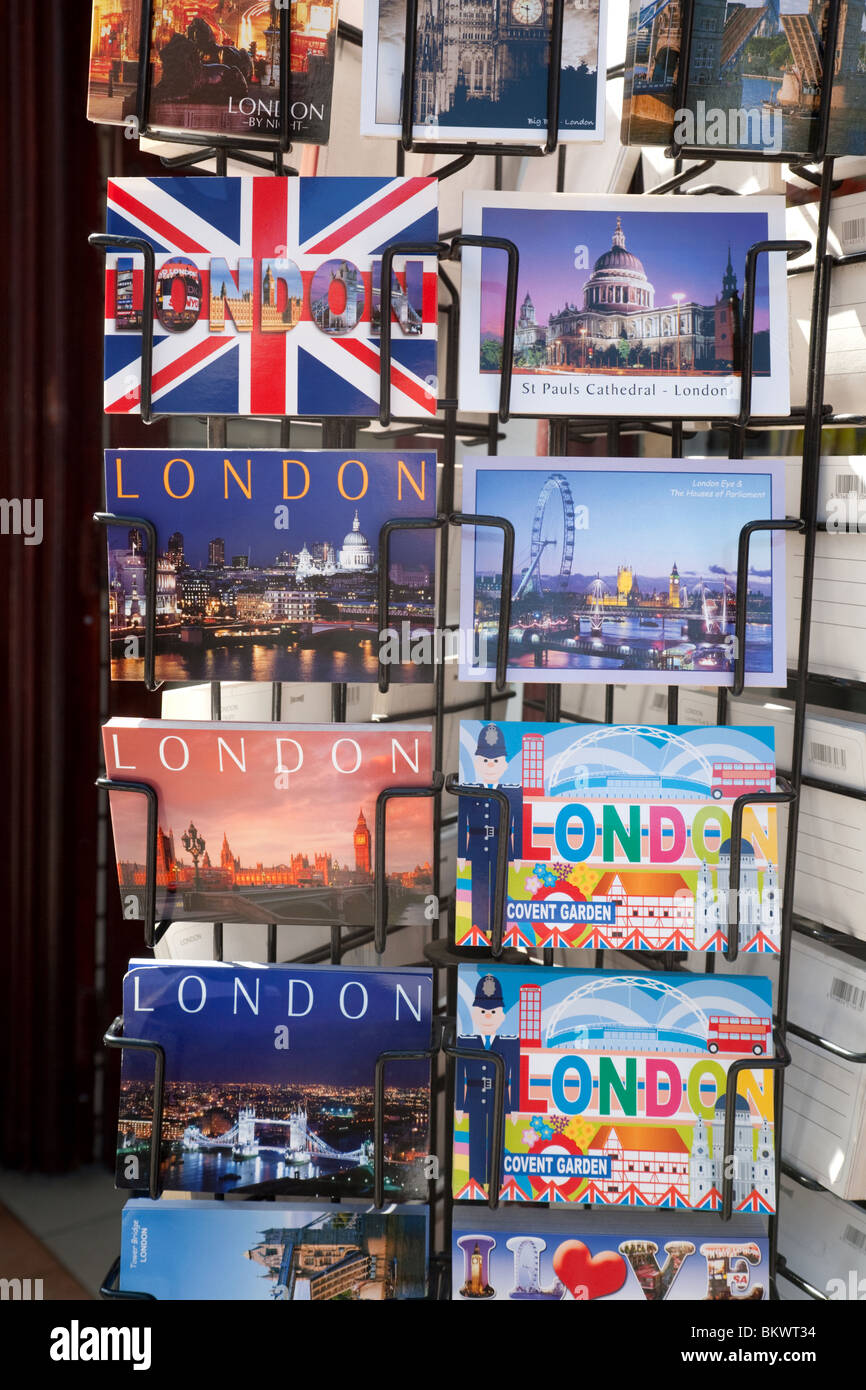 Postcards of London for sale, Oxford street, London UK - Stock Image