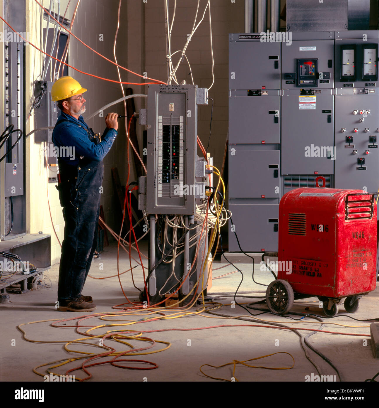 Electrician Wiring Circuit Breaker Box Stock Photos To A At New Water Treatment Plant In England