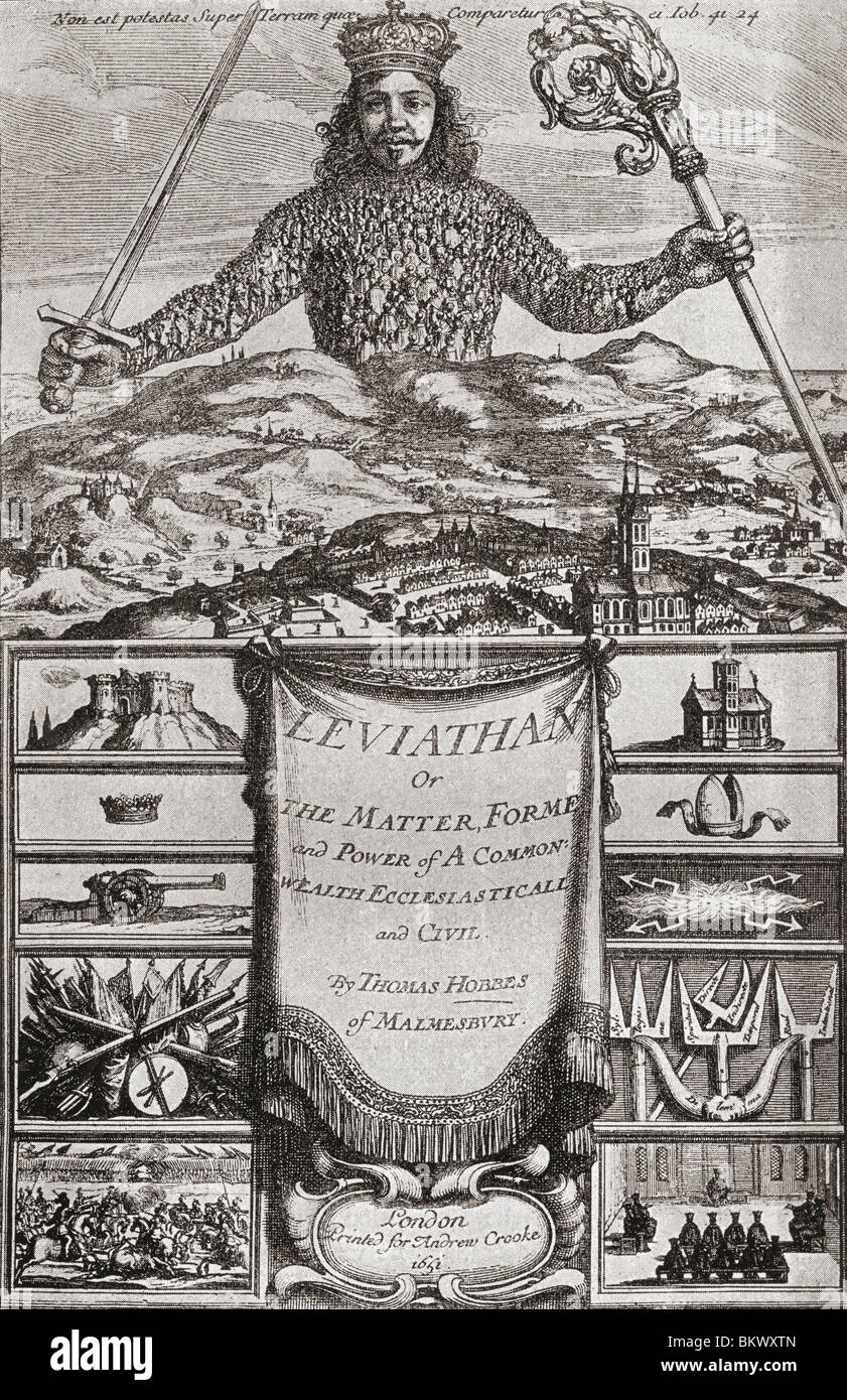 title page to leviathan or the matter forme and power of a common wealth ecclesiasticall and civil by thomas hobbes