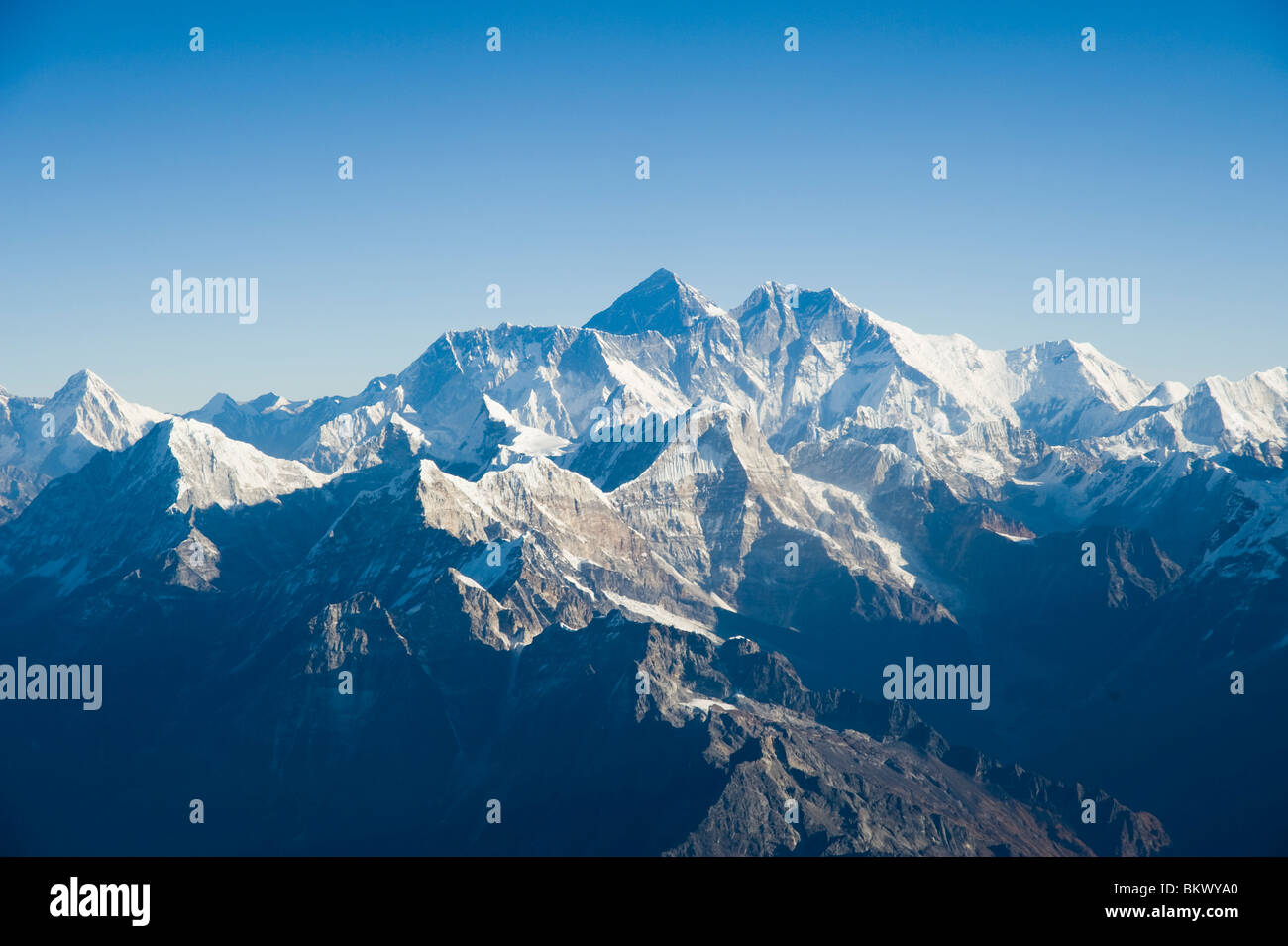 Aerial photograph of  the Himalaya mountain range with Mount Everest in the middle in Nepal - Stock Image