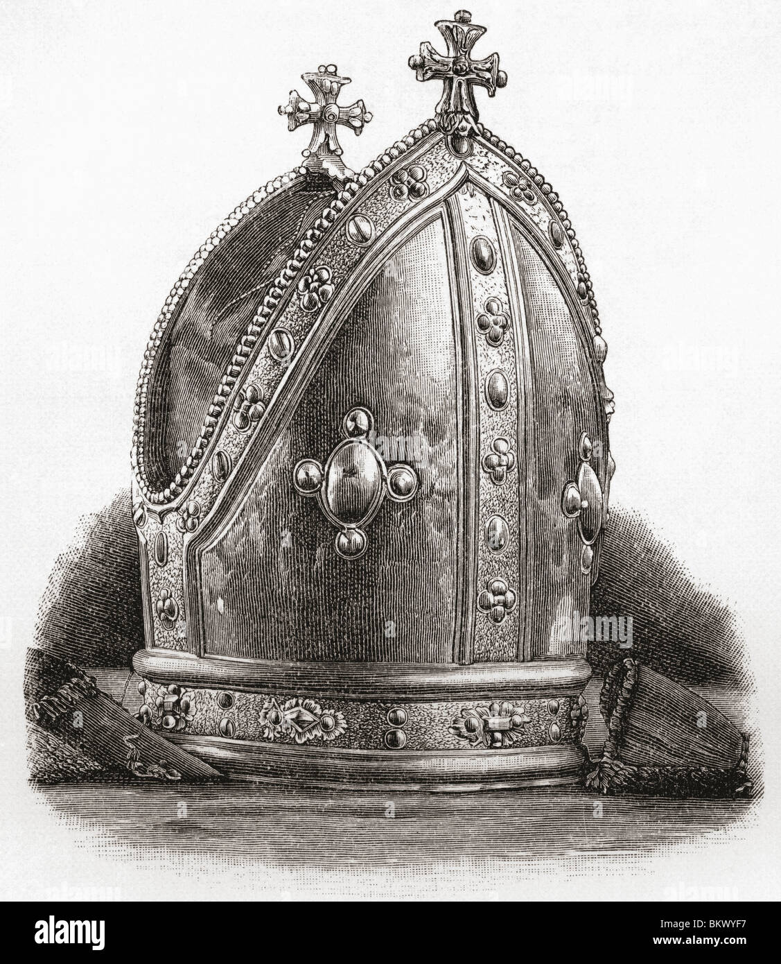 Mitre of Bishop Wren. Matthew Wren, 1585 to 1667. English clergyman and scholar. - Stock Image
