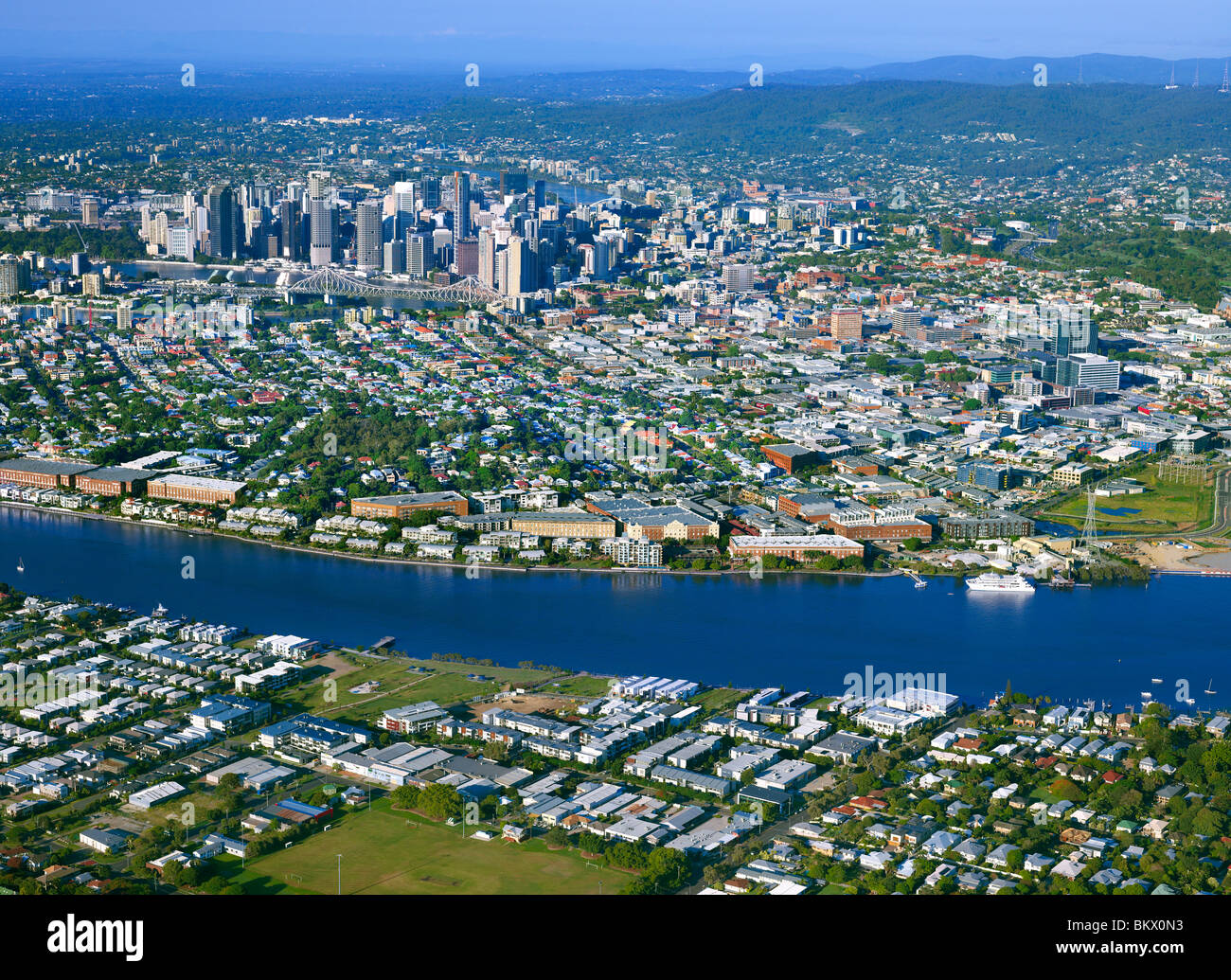 Aerial view of Brisbane Queensland Australia looking West from Bulimba - Stock Image