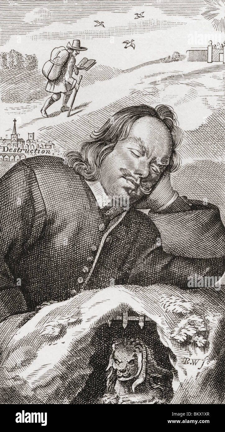 Bunyan's Dream. Frontispiece to Pilgrim's Progress, 1680. John Bunyan, 1628 to 1688. Christian writer and - Stock Image