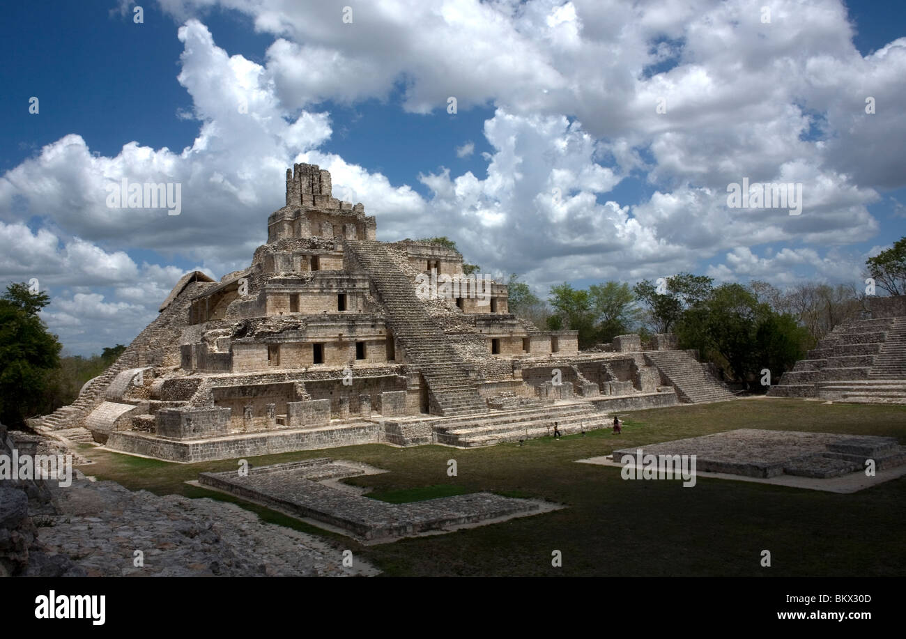 The pyramid among the Mayan ruins of Edzna in Campeche State in Mexico's Yucatan peninsula, June 20, 2009 - Stock Image