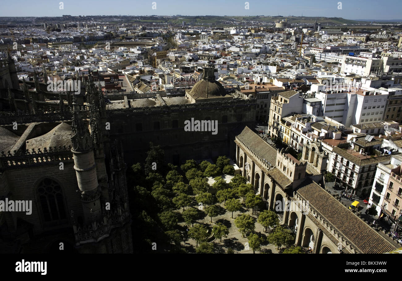 A view of Sevilla seen from the Cathedral's bell tower, Spain, March 11, 2008. Photo/Chico Sanchez Stock Photo