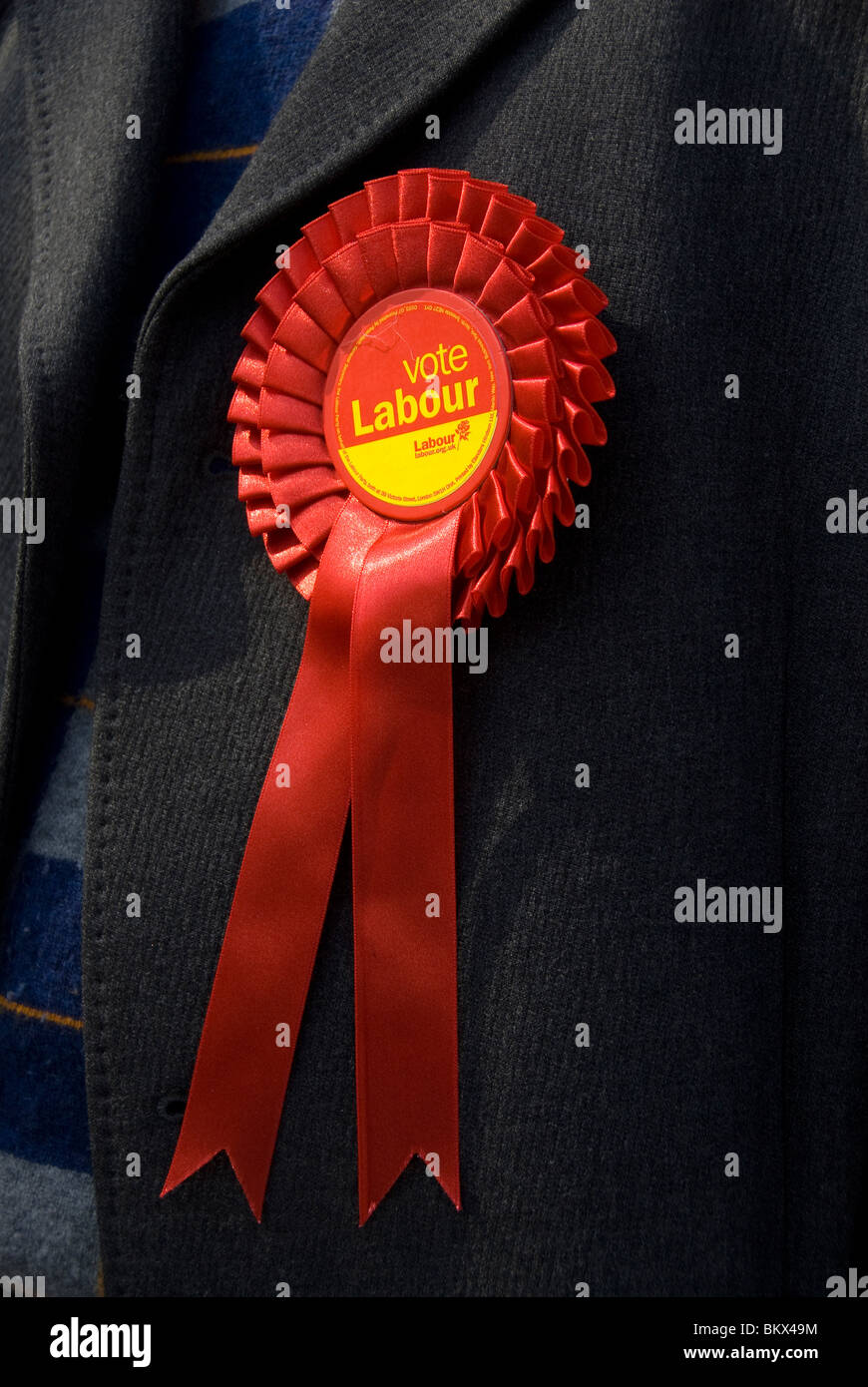 2010 Genera Election East . Columbia Road polling station.Labour party rosette. - Stock Image