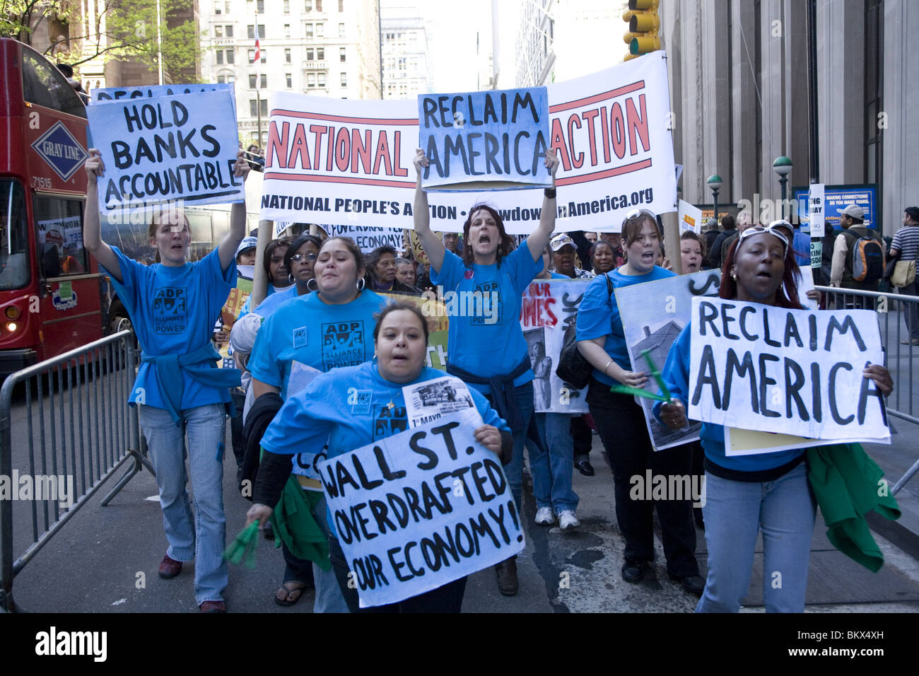 AFL-CIO and other Unions members march to Wall Street demanding good jobs and that banks & Wall Street pay their - Stock Image