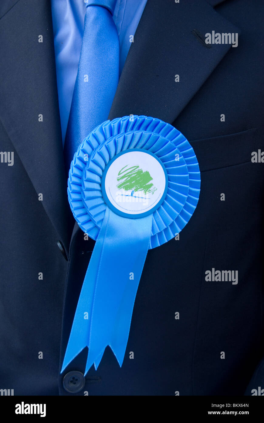 2010 Genera Election East . Columbia Road polling station.Tory party rosette. - Stock Image