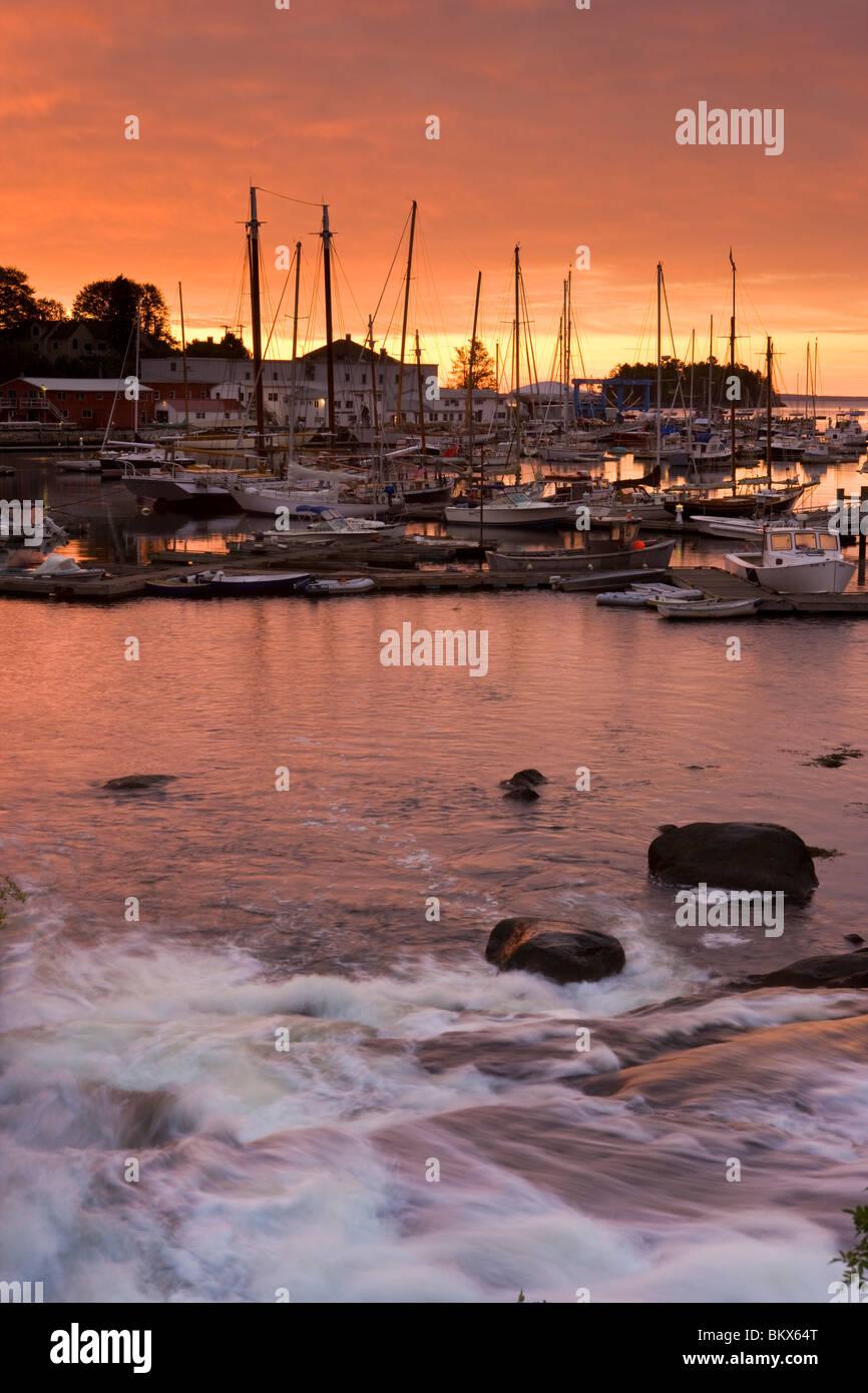 Dawn in Camden Harbor.  Camden, Maine. - Stock Image