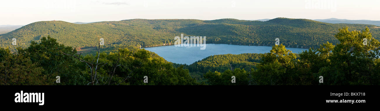 Merrymeeting Lake as seen from Caverly Mountain in New Durham, New Hampshire. - Stock Image