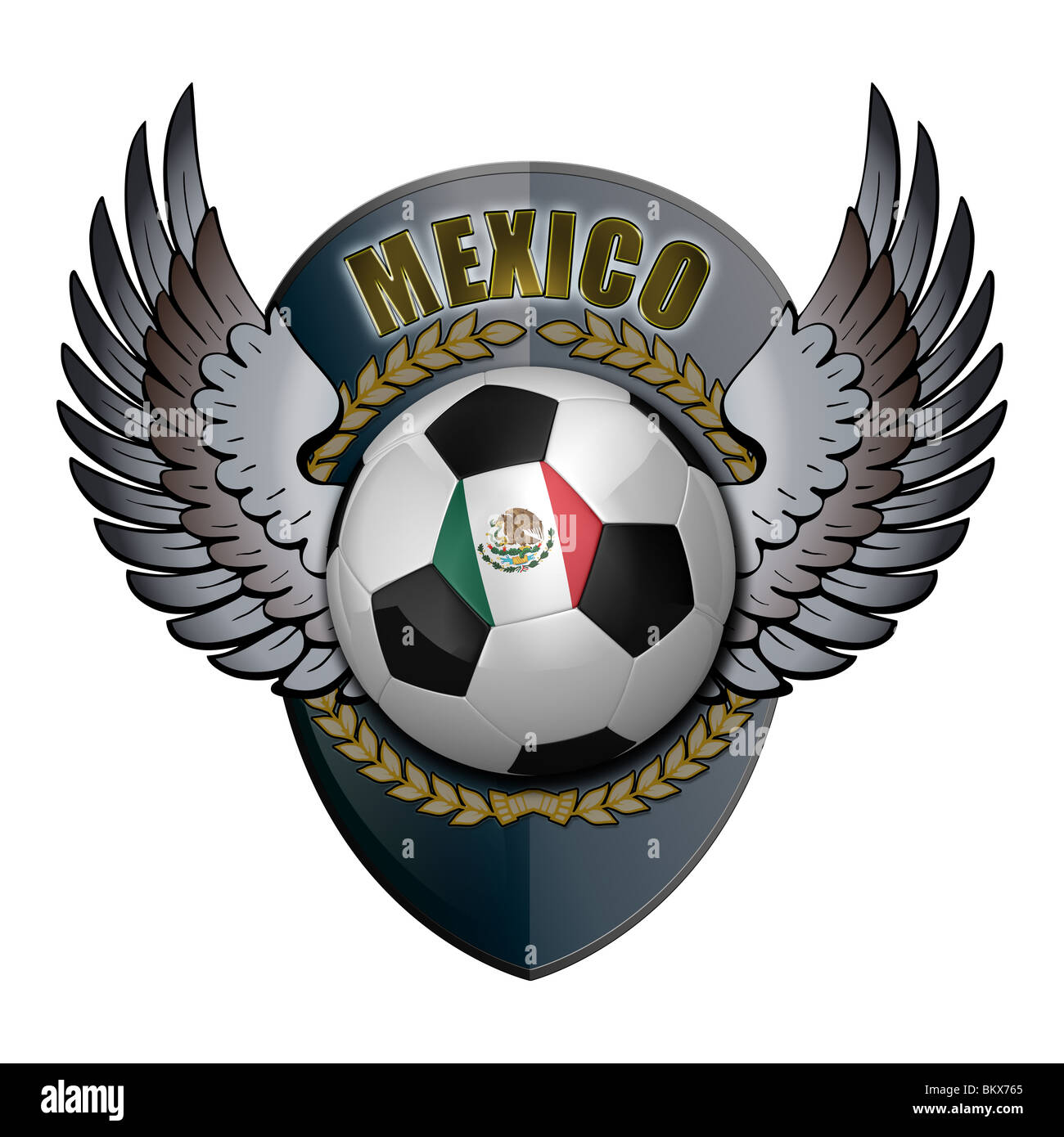 Mexican soccer ball with crest - Stock Image