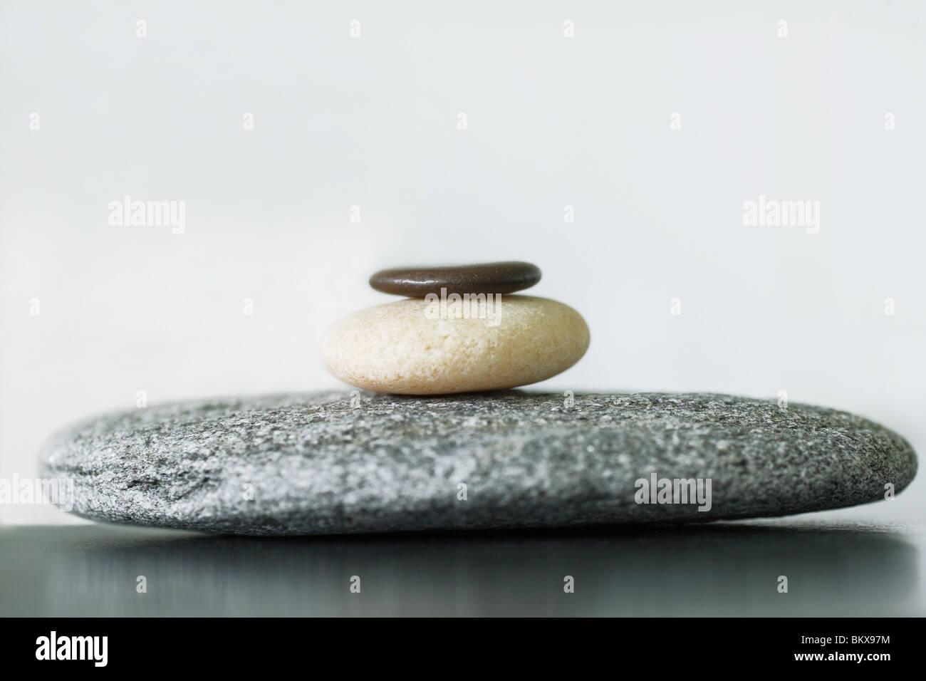 Stones balanced suggesting Zen, Calm and Serenity - Stock Image