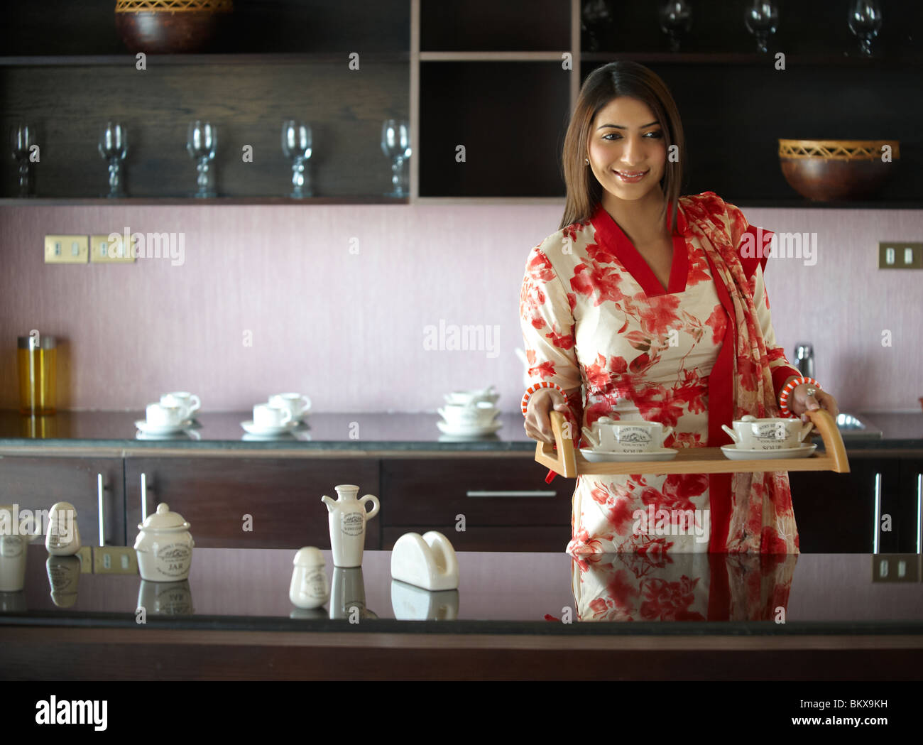 Indian Woman Cooking Kitchen Home Food Portrait Asian Modern