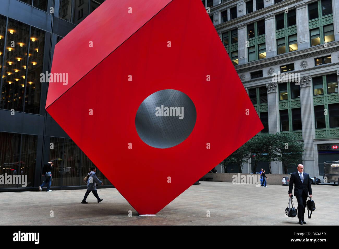 Isamu Noguchi's Red Cube Manhattan New York NY Stock Photo