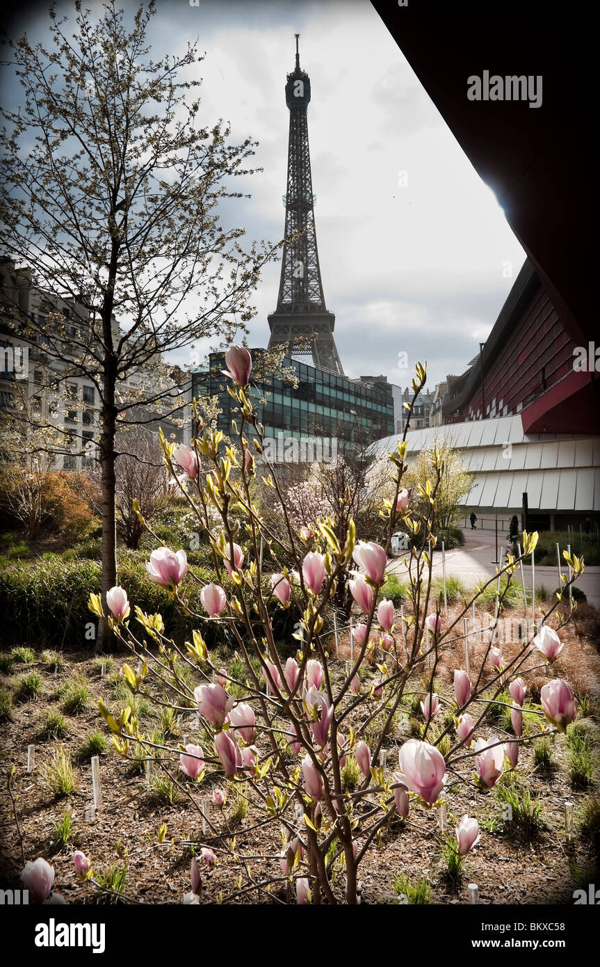 Summer time in Paris, view of the Eiffel Tour from the new garden of ...
