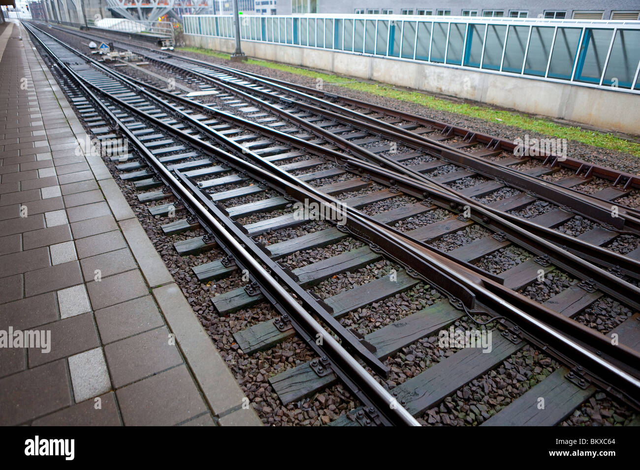 Rails at the train station - Stock Image